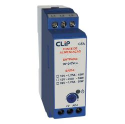 Fonte de Alimentação CLIP - CFA 2412 - Entrada 90-242Vca, Saída 24Vcc / 1,2 A